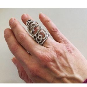 Vintage Silver and CZ Knuckle Double Ring Size 6
